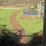 een padje door het natte gras