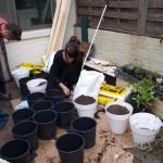 samen vele potten vullen, met lappen stof als wiek, potgrond en compost