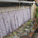 betonnen ring wordt pareltje van rotsmuur waar de regenbuis overloopt naar de vijver